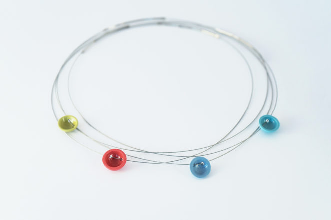 Semisferina necklace_Ceramic jewels colored