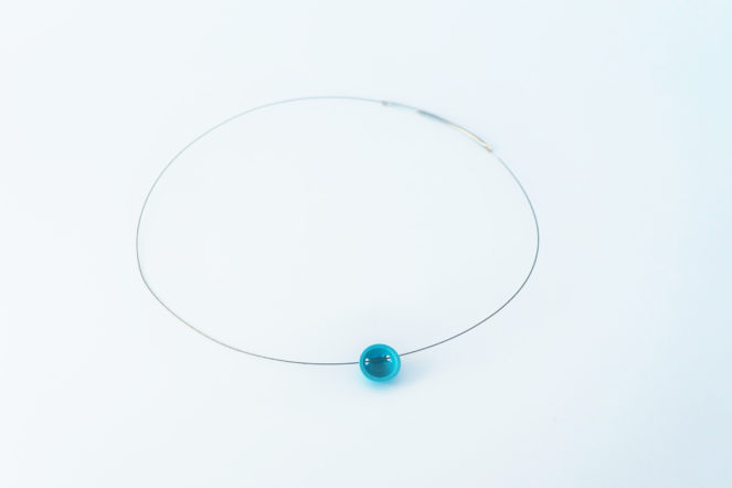 Semisferina necklace_Ceramic jewel blue